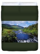 High Angle View Of A Waterfall Duvet Cover