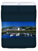 High Angle View Of Boats Moored At A Duvet Cover