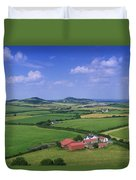 High Angle View Of Fields, Stradbally Duvet Cover