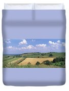 High Angle View Of Patchwork Fields Duvet Cover