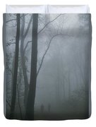Hikers Enjoy A Foggy Outing On A Trail Duvet Cover