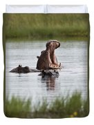 Hippo In Water Exhibits Aggresive Duvet Cover