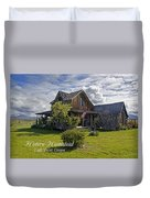 Historic 1870 Marvin Wood House With Text Duvet Cover