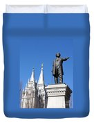Historic Salt Lake Mormon Lds Temple And Brigham Young Duvet Cover