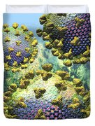 Hiv Three Virions On Blue Duvet Cover