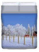 Hoarfrost On Trees Around Red Barns Duvet Cover