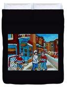 Hockey Game Corner Clark And Fairmount Wilenskys Paintings Duvet Cover by Carole Spandau
