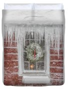 Holiday Wreath In Window With Icicles During Blizzard Of 2005 On Duvet Cover