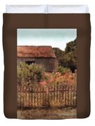 Hollyhocks And Thatched Roof Barn Duvet Cover