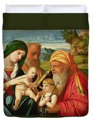 Holy Family With St. Simeon And John The Baptist Duvet Cover