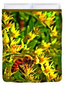 Honey Bee And Sedum  Duvet Cover