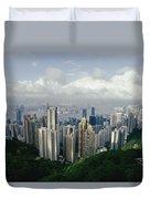 Hong Kong Island And The Bay Duvet Cover