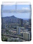 Honolulu And Diamond Head Duvet Cover