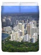 Honolulu Hawaii And Waikiki Beach Duvet Cover