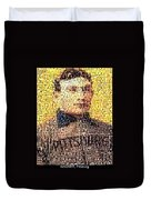 Honus Wagner Mosaic Duvet Cover by Paul Van Scott