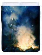 Hooded Figure In A Mask By A Fire Duvet Cover