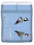 Hooded Merganser Flying Duvet Cover