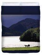 Horse And Buggy By Waterfront Duvet Cover