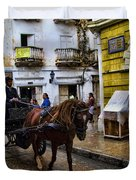 Horse And Buggy In Old Cartagena Colombia Duvet Cover