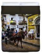 Horse And Buggy In Old Cartagena Colombia Duvet Cover by David Smith