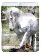 Horse And Dog Play Duvet Cover