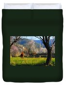 Horse At Field Duvet Cover