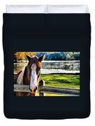 Horse At Lake Leroy Duvet Cover