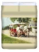 Horse Carriage Mackinac Island Michigan Duvet Cover