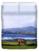 Horse Grazing In A Field, Beara Duvet Cover by The Irish Image Collection