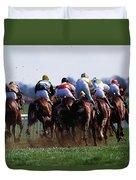 Horse Racing Rear View Of Horses Racing Duvet Cover