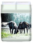Horse Tails Color Splashed Duvet Cover