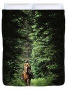 Horseback Riding On An Emerald Lake Duvet Cover