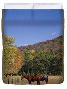 Horses And Autumn Landscape Duvet Cover