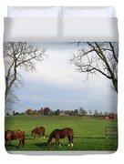 Horses Grazing Duvet Cover