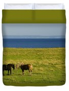 Horses In A Field, Guernsey Cove Duvet Cover