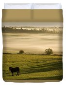 Horses In The Morning Mist, North Duvet Cover
