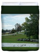 Horses On The Farm 1 Duvet Cover