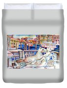 Horses On The Grand Canal Of Venice Duvet Cover