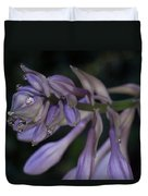 Hosta Blossoms With Dew Drops Duvet Cover