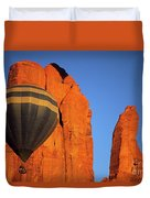 Hot Air Balloon Monument Valley 1 Duvet Cover