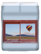 Hot Air Balloon And Longs Peak Red Rustic Picture Window View Duvet Cover
