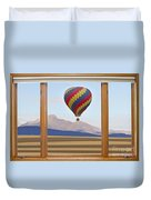 Hot Air Balloon Colorado Wood Picture Window Frame Photo Art Vie Duvet Cover