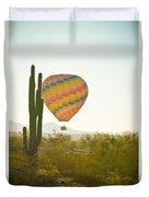 Hot Air Balloon Over The Arizona Desert With Giant Saguaro Cactu Duvet Cover