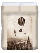 Hot Air Balloons Over 1949 New York City Duvet Cover