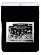 Hotdog Eating Contest Time In Black And White Duvet Cover
