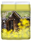 House Behind Yellow Flowers Duvet Cover
