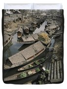 Houseboats Line A Waterway Duvet Cover