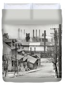 Houses And Steelmill Duvet Cover