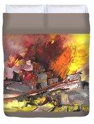 Houses In Fire Duvet Cover