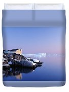 Houses On The Coastline With Icebergs Duvet Cover